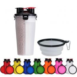 Przenośny 2 w 1 karma dla zwierząt domowych wody pojemnik na żywność z 2 składane silikonowe miski dla zwierząt na zewnątrz podr