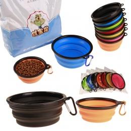 Składany silikonowy miska dla zwierząt żywności wody karmienia BPA za darmo składany kubek podróżny dla psów kot Drop Shipping s