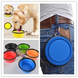 Silikonowa karma dla kota karma dla psa miseczka na wodę psów Puppy składany składane miski pojemniki podróżne podajnik małe pup