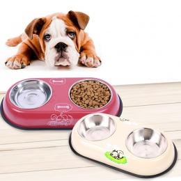 Podajnik ze stali nierdzewnej do picia dla psów duże podwójne miska łatwy w użyciu żywności/podajnik wody Puppy Dog miska dla ko