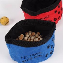 Przenośny zwierzęta psy koty płótno składane miseczka turystyczna miska dla zwierząt butelka z podajnikiem kot pies miski na wod