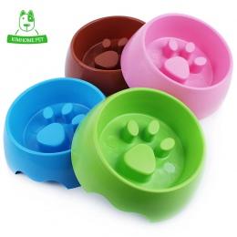 4 kolor śliczne miska dla zwierzęcia domowego dla psów koty z tworzywa sztucznego Paw Print miska dla psa miska S M