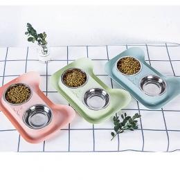 Nowości podwójna miska dla psa wysokiej jakości uniwersalny karmnik dla zwierząt Teddy miska na karmę ze stali nierdzewnej kot p