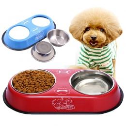 Miska dla psa miska ze stali nierdzewnej podróż karmienie podajnik miseczka na wodę dla zwierząt pies kot Puppy miska na karmę m