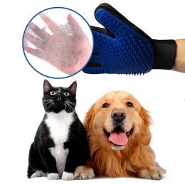 Silikonowy szczotka dla psa Pet Grooming rękawice Deshedding grzebień dla psów koty w lewo/w z prawej strony szczotka do usuwani