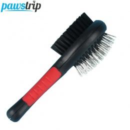 1 PC podwójna obliczu zwierząt domowych grzebień długie szczotki do włosów uchwyt z tworzywa sztucznego Puppy kot masaż szczotka
