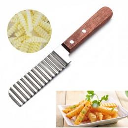 Frytki nóż ze stali nierdzewnej nóż do ziemniaków nóż warzyw fala do cięcia narzędzia kuchenne gadżety
