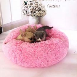 Okrągły pies łóżko zmywalny legowisko dla kota psa oddychająca Sofa dla małych średnich psów Super miękkie pluszowe klocki produ
