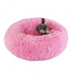 Shaggy Faux Fur pączek Cuddler okrągłe ciepłe pluszowe kryty dom dla kotów gniazdo łóżko dla psa dla średnich psów można prać w