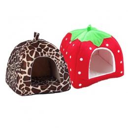 Miękkie truskawkowe Leopard dla zwierząt domowych dom dla kotów namiot hodowla Doggy zima ciepła poduszka kosz zwierząt łóżko ja