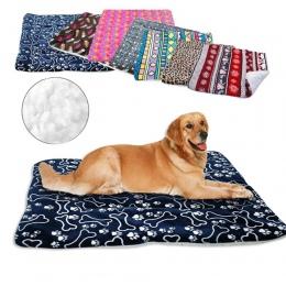 Zima pies czerwony koc miękki polar zwierzęta łóżko maty ciepłe Sofa poduszki materac do małych i dużych psów koty Cama Perro