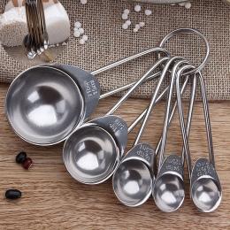 5 sztuk ze stali nierdzewnej miarka kuchnia skala miarki miarka do pieczenia gotowania łyżeczki cukru kawy zestaw narzędzi