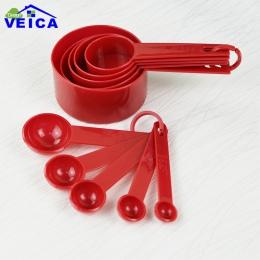 Czerwone plastikowe miarki 10 sztuk/partia pomiar łyżka narzędzia kuchenne zestaw pomiarowy narzędzia do pieczenia kawy i herbat