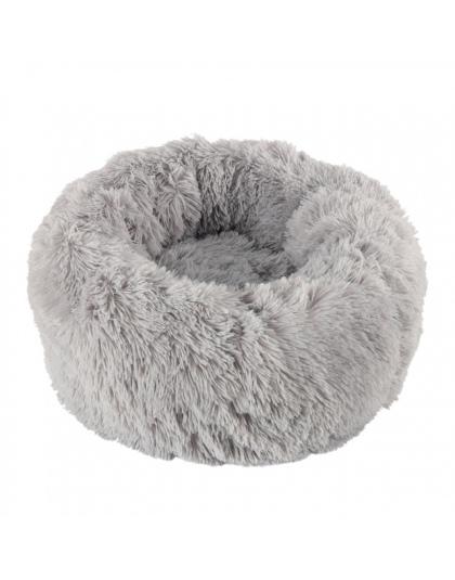 Długie Pluszowe Miękkie łóżko Dla Psa Szary Okrągły Kot Zima Ciepłe łóżka Do Spania Torba Puppy Pies Koty Poduszki Mat Przenośne