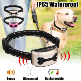 Dla zwierząt domowych akumulator obroża antyszczekowa pociąg sterowania wodoodporna Stop szczekanie psa wodoodporny ultradźwięko