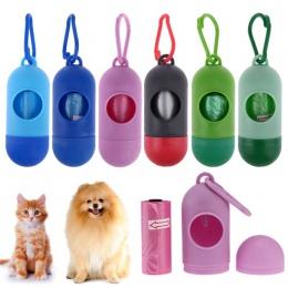 Nowy kształt pigułki dla zwierząt domowych dozownik do woreczków na odchody odpadów worki na śmieci przewoźnika z 1 rolki kot pi
