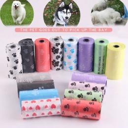 Torba na odchody psa artykuły dla zwierząt 5 rolek/2 rolki druku kot torba na odchody psa na zewnątrz domu czyste do napełniania