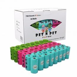 Pies torebki na odchody zwierzęce przyjazne dla środowiska oxo-biodegradowalne 48 rolek 720 liczy 15 mikronów Rainbow Cat worki
