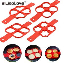 Nieprzylegająca naleśnikarka 4 siatki silikonowe kuchnia foremka do pankejków do gotowania jaj narzędzie łatwe smażone jajko pie