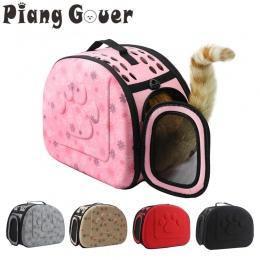 Torba do noszenia psa przenośny koty torebka składana torba podróżna Puppy z siatką na ramię torby dla zwierząt S/M/L