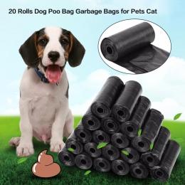 20 rolka/300 sztuk torba na odchody psa czarny czerwony różowy niebieski dla zwierząt domowych torebki na odchody zwierzęce pies