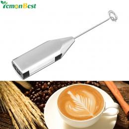 Ręczny ze stali nierdzewnej kawy mleko pić elektryczny trzepaczka mikser spieniacz spieniacz na baterie kuchnia trzepaczka do ja