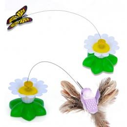 Elektryczny obracanie kolorowy motyl zabawny pies kot zabawki ptak fotelik dla zwierzaka Scratch zabawka dla kota kotek pies kot
