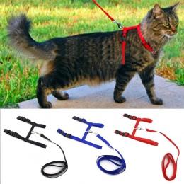 Obroża dla kota/psa szelki dla psa smycz regulowany Nylon dla zwierząt domowych Cat Kitten Halter kołnierz gato koty produkty up