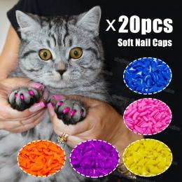 20 sztuk silikonowe miękkie kot paznokci czapki/kot łapa pazur/paznokcie zwierząt domowych Protector/kot paznokci pokrywa z bezp