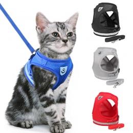 Odblaskowe kot uprząż i smycz zestaw siatka nylonowa obroża dla kociaka pieska psów kamizelka uprząż prowadzi ubrania dla zwierz