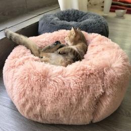Długie pluszowe Super miękkie łóżko dla zwierząt hodowla psów okrągły kot zima ciepły śpiwór poduszka dla szczeniaka Mat przenoś