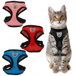 Siatka Cat uprząż i smycz oddychające odblaskowe Kitten koty szelki dla małych psów szelki dla psa dla buldog francuski Chihuahu