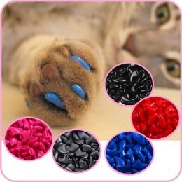 100 pcs-koty kotek łapy do pielęgnacji paznokci pazur czapka + 5 klej klej + 5 aplikator z miękkiej gumy paznokcie zwierząt domo
