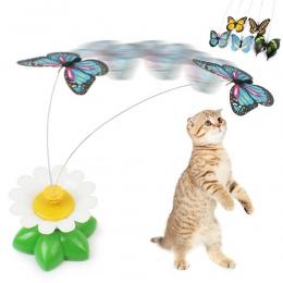 Kot elektryczny obracanie zabawki kolorowe motyl zabawki dla zwierząt z tworzywa sztucznego śmieszne zwierzęta interaktywne szko