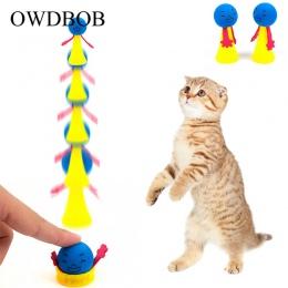 OWDBOB 2 sztuk/zestaw zabawny skoki kot zabawkowe zwierzątko kot odbijając zabawki szczeniak kotek gry zabawki kulki do odbijani