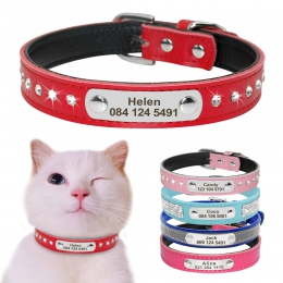 Skórzane obroża dla kota spersonalizowane obroża dla kota dla szczeniąt małe psy kotek tabliczka znamionowa kołnierz darmowe gra