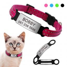 Nylon obroża dla kota spersonalizowane obroże dla zwierząt domowych z, imię i nazwisko, adres, Tag odblaskowe Chihuahua kotek ob