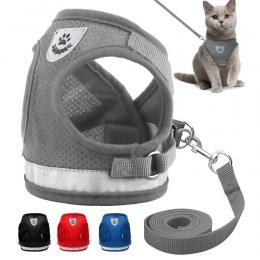 Kot uprząż i smycz zestaw odblaskowe obroża dla kociaka pieska psów kurtka siatki ubrania dla zwierząt domowych dla małe psy Chi