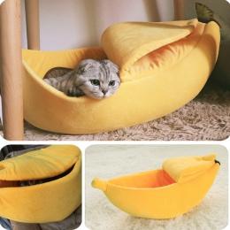 Banana legowisko dla kota dom przytulne śliczne Banana poduszka dla szczeniaka Kennel ciepłe przenośny zwierzęta domowe są koszy