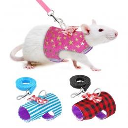 Małe zwierzę królik szelki kamizelka i smycz zestaw dla Ferret świnka morska Bunny Hamster króliki szczeniak kotek Bowknot pasek