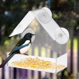 Przezroczysty akryl typu adsorpcji dom kształt karmnik dla ptaków innowacyjnych ssania kubek podajnik