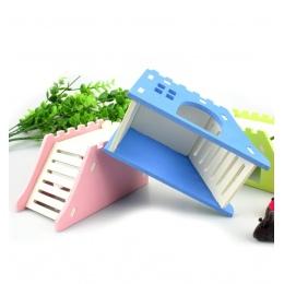 Drabiny 1 PC taras widokowy dom dla zwierząt drewniane produkty dla zwierząt jeż zamek zabawki chomika gniazdo chomika dom
