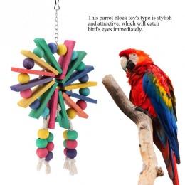 Nowy styl Pet papuga zabawki drewniane wiszące klatka zabawki dla papugi ptak Funny wiszące stojący zabawkowe zwierzątko ptak ma