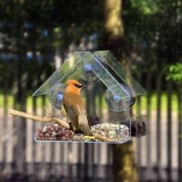 Z przezroczystego szkła okno oglądania karmnik dla ptaków Hotel tabeli nasion orzeszków ziemnych wiszące ssania Alimentador adso