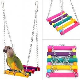 Ptak huśtawka zabawki, Parakeet grzędy wiszące klatka zabawka dla Conures papugi papugi nimfy ary zięby (kolorowe)