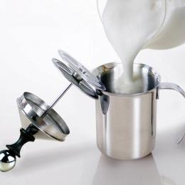 800/400 ML ze stali nierdzewnej spieniacz do mleka pompa mikser do kawy spieniacz mleka Cappuccino Latte podwójne siatki delikat