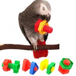 4 PC papuga zabawki Chew ukąszenia huśtawka klatka nakrętki śruby śruba zabawka dla papugi Cockatiel kakadu szkolenia zabawki Dr