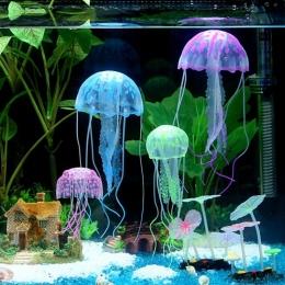 Sztuczne pływać świecące efekt meduzy akwarium dekoracja do akwarium pod wodą żywa roślina Luminous ozdoba wodnych krajobraz