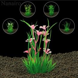 2017 nowy 13 cm podwodne sztuczne rośliny wodne ozdoby do akwarium akwarium zielona woda trawa krajobraz dekoracji