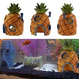 Małe akwarium dekoracja SpongeBob ananas dom skalmar wyspa wielkanocna Fish Tank dekoracja kreskówkowa dla dzieci